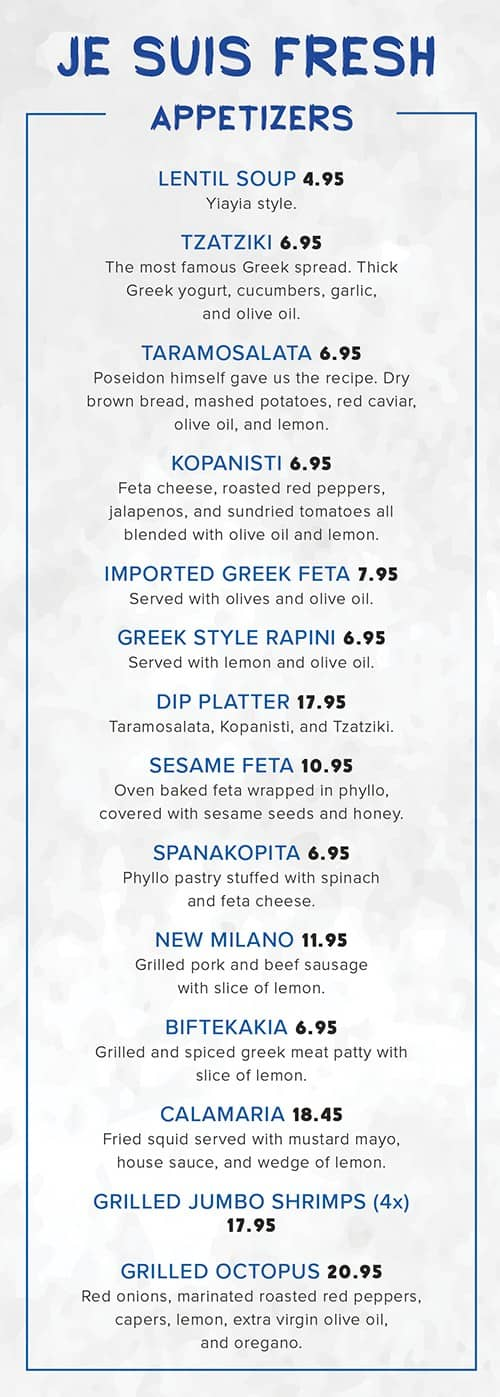 food menu with appetizers