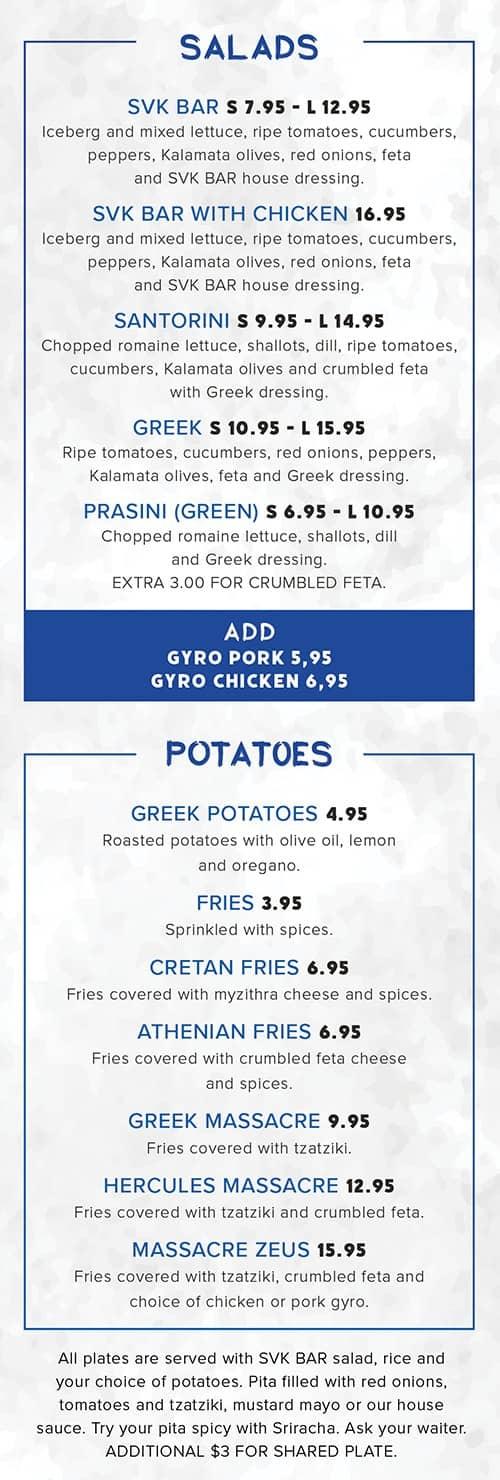 Food menu with salads and potatoes
