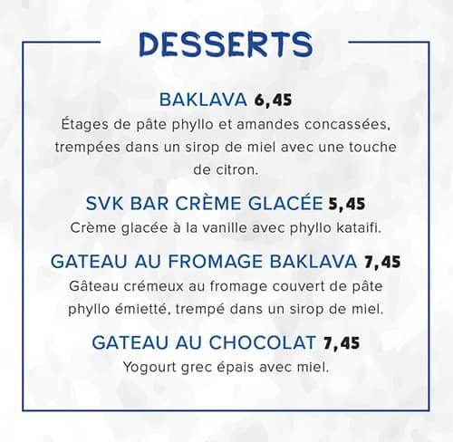 Menu desserts