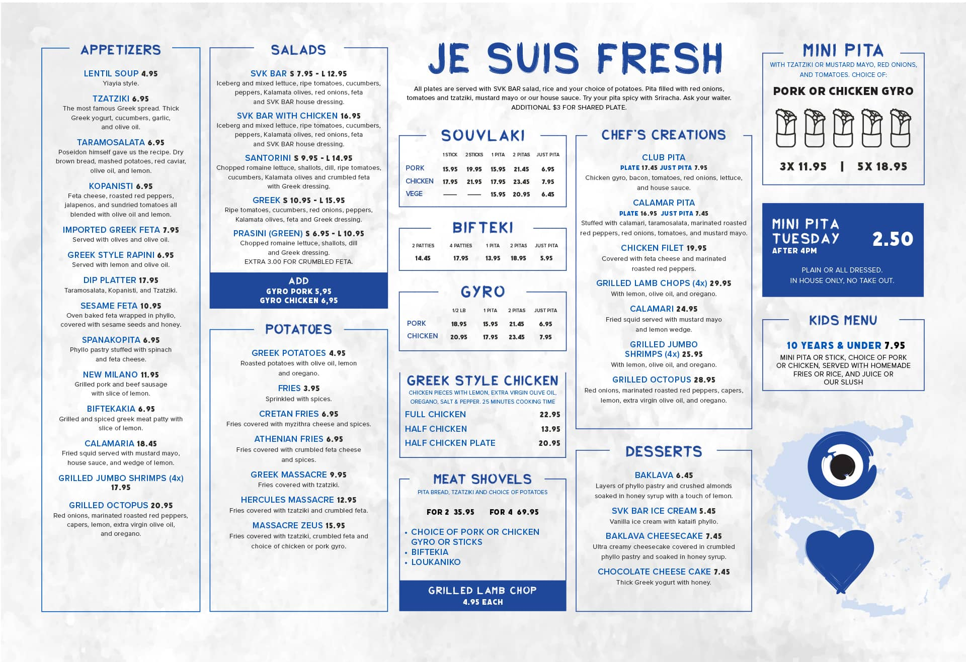 Food menu with appetizers, salads, souvlakis, gyro, chicken, pitas and kids menu