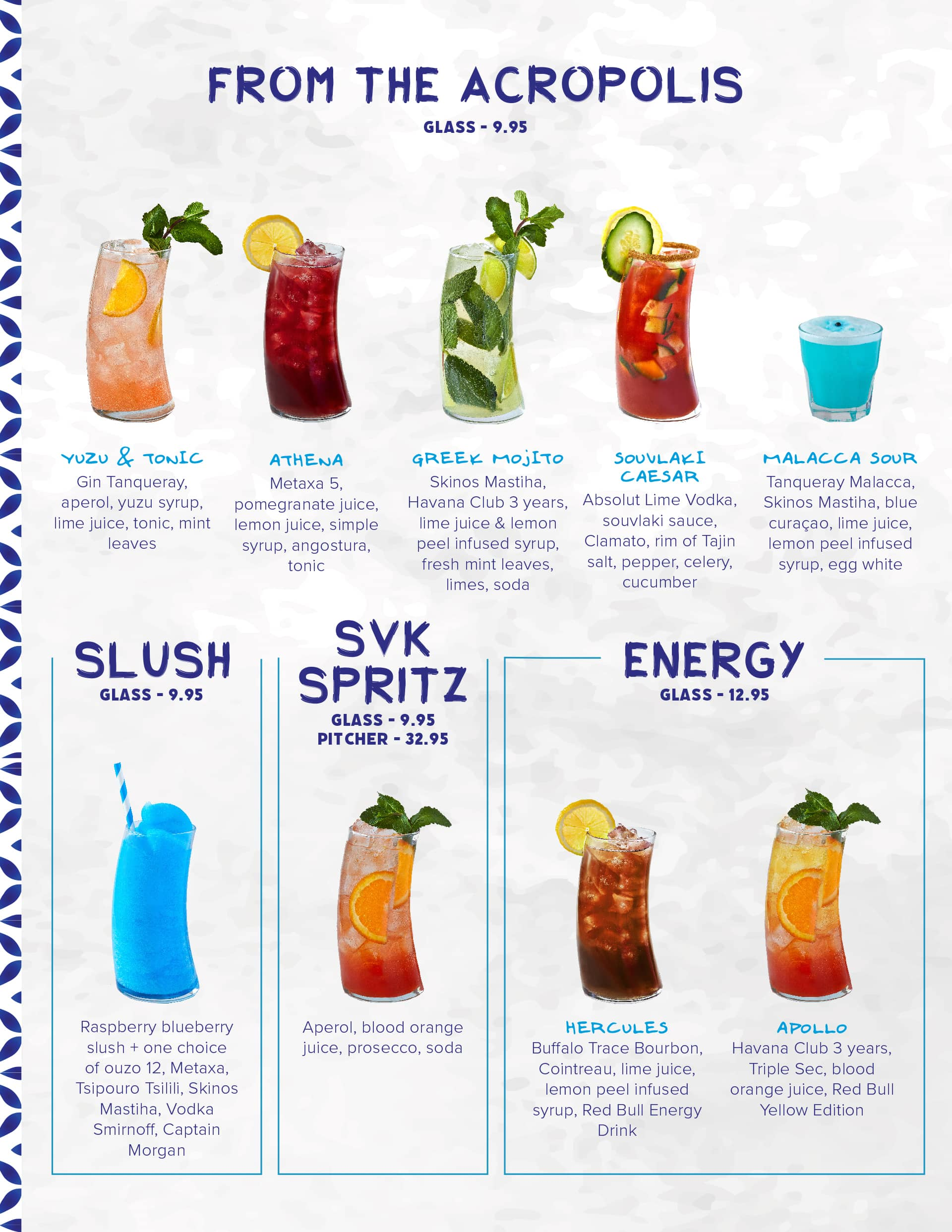 Drink menu with From the Acropolis, Slush, Spritz and Energy at Souvlaki Bar