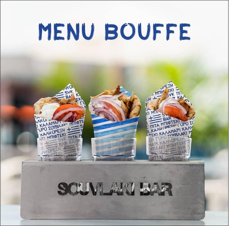 La page menu bouffe du Souvlaki Bar
