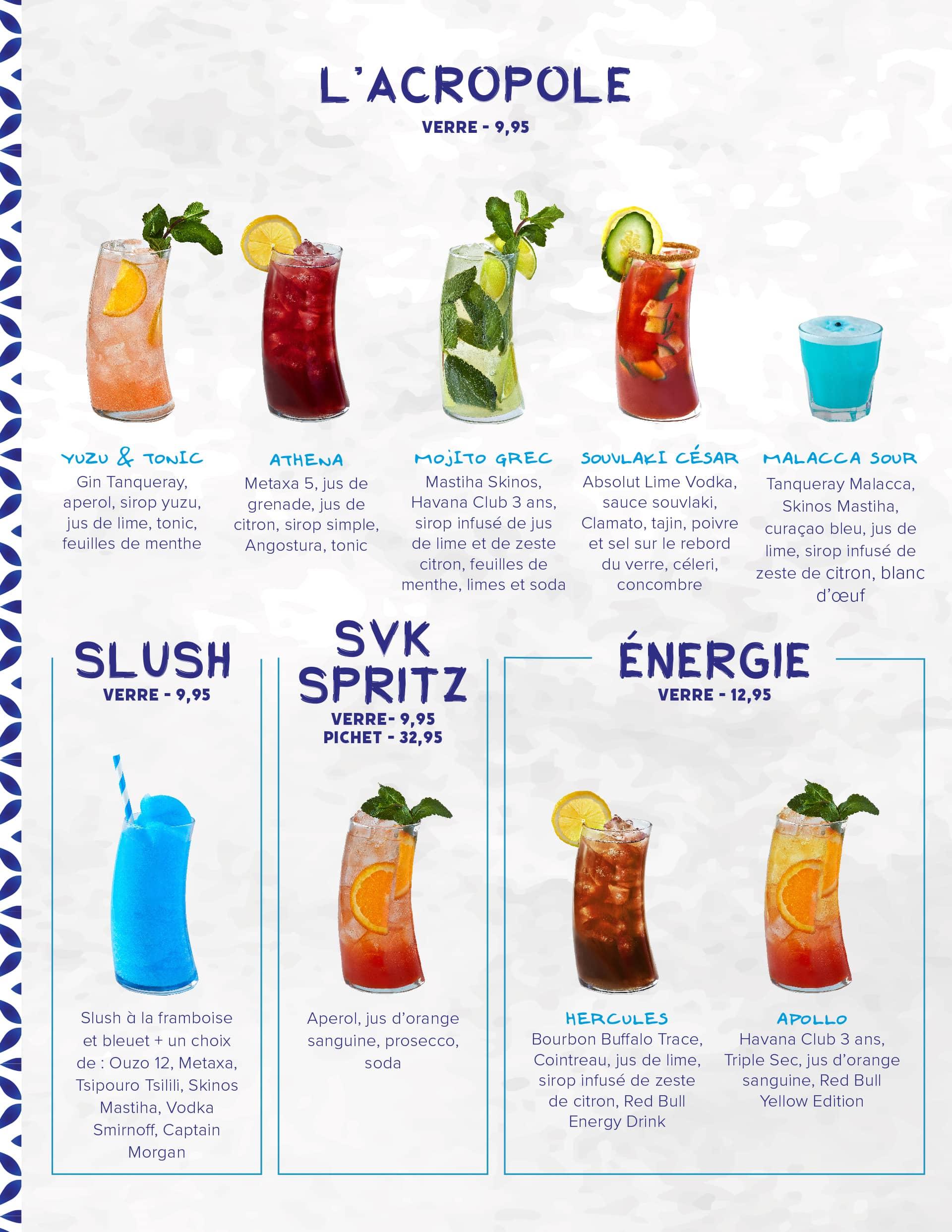 Menu breuvages avec cocktails L'acropole, slush, SVK Spritz et Énergie